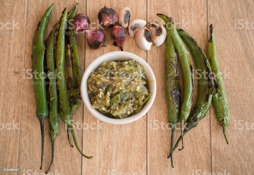 green chili dip stock photo