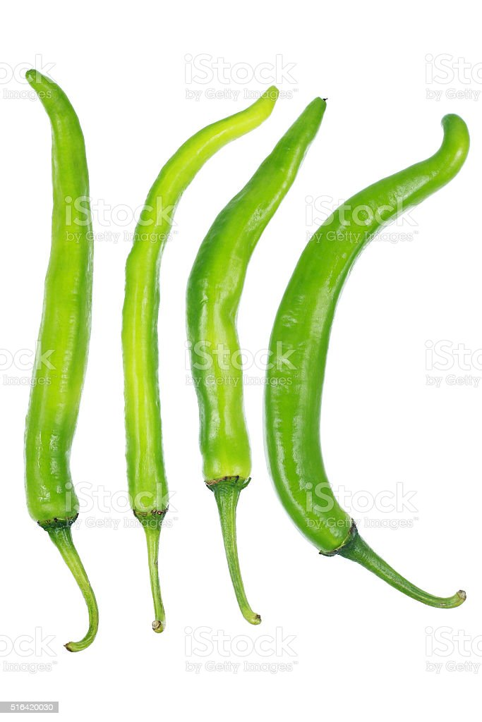 Green chili isolated on white stock photo