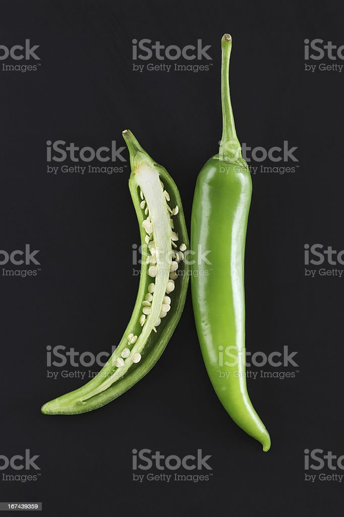 Green chili peppers stock photo