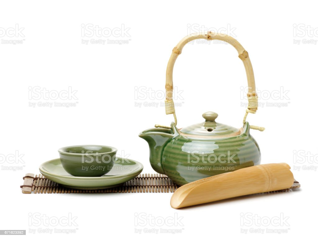 Green chinese tea  set  on white background stock photo