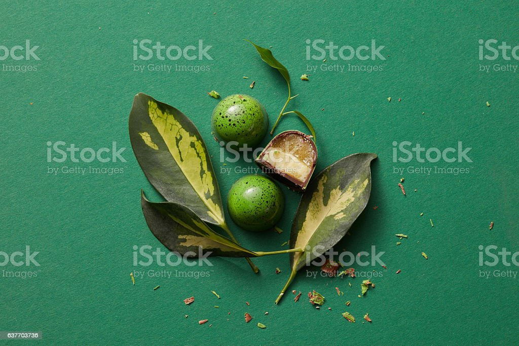 green chocolate candy with jelly stock photo
