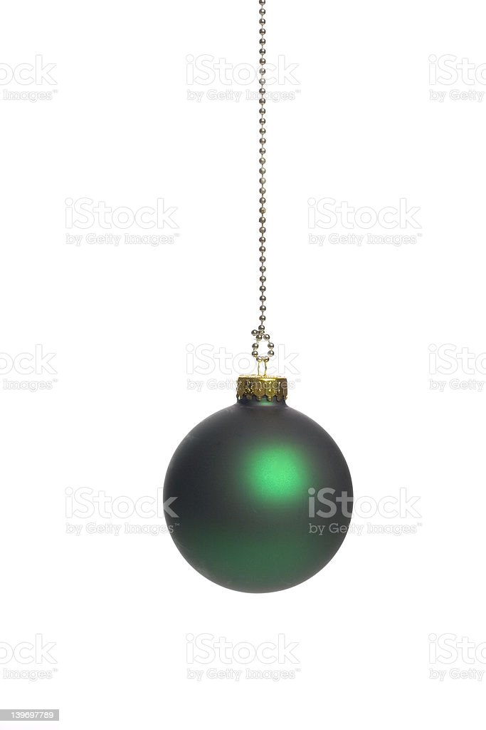 Green christmas ball over white background - isolated royalty-free stock photo