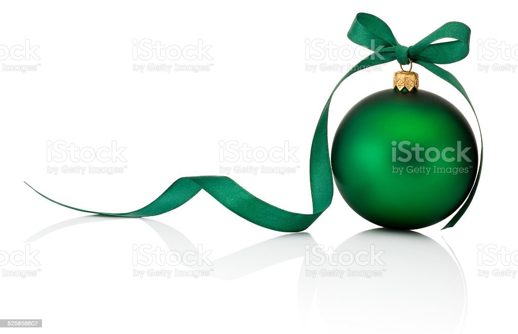 Green Christmas ball with ribbon bow Isolated on white background stock photo