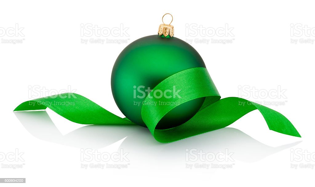 Green Christmas bauble covered with curled ribbon Isolated on white stock photo