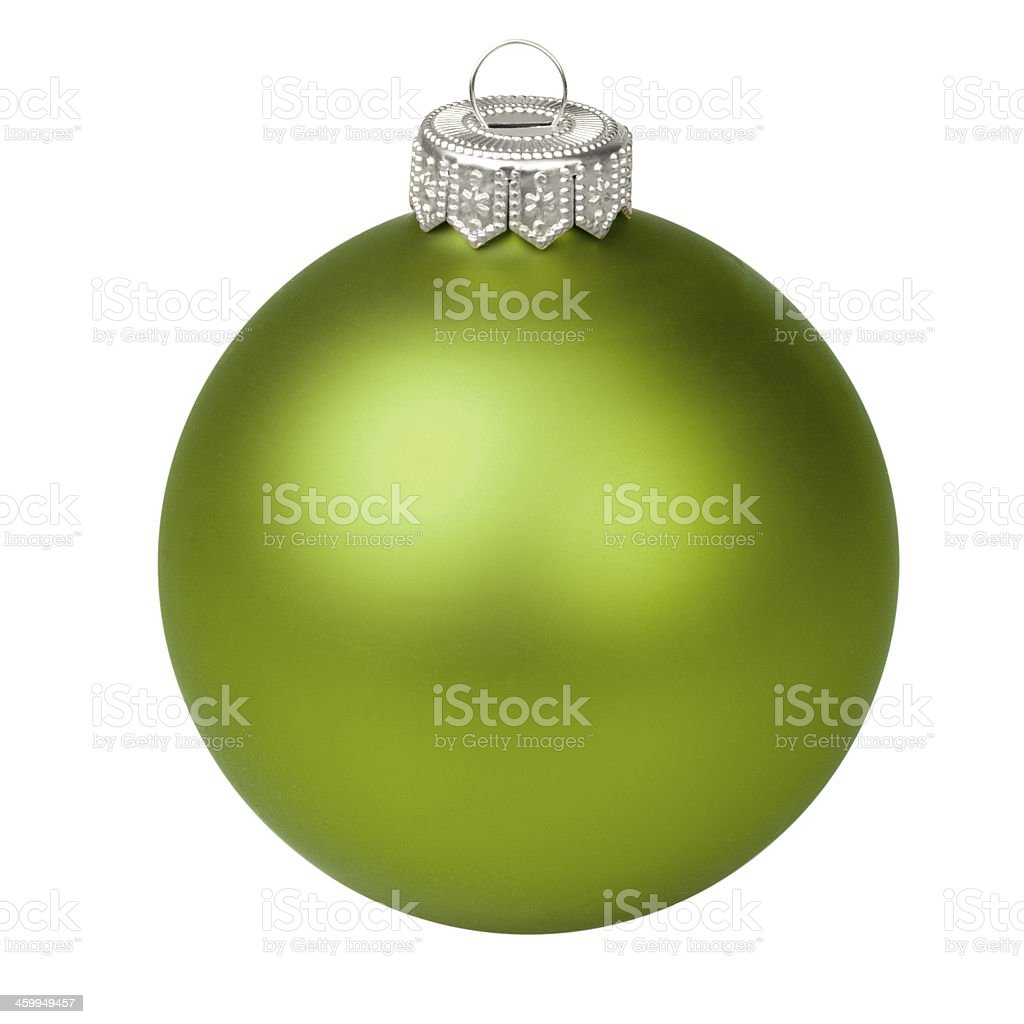 Green Christmas bauble topped with a silver hook stock photo