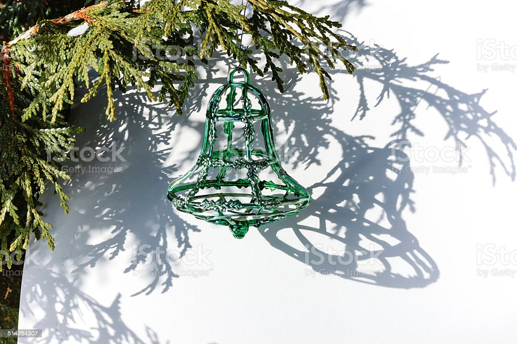 green Christmas bell stock photo