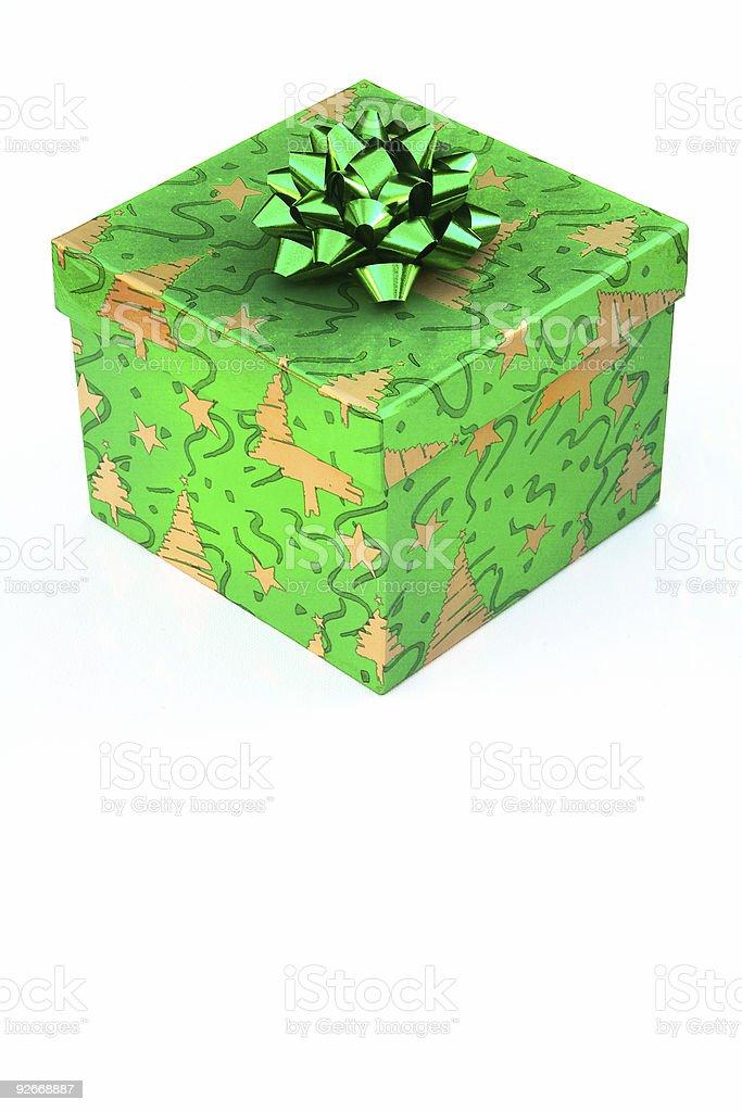 Green Christmas  G ift box stock photo