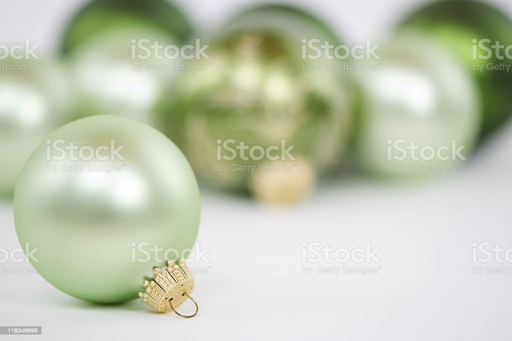 Green Christmas ornaments royalty-free stock photo