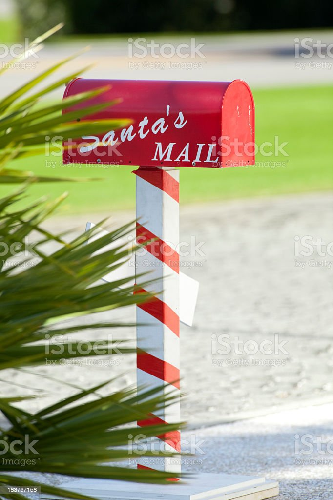 Green Christmas, Santa's Mail Box in the South. stock photo