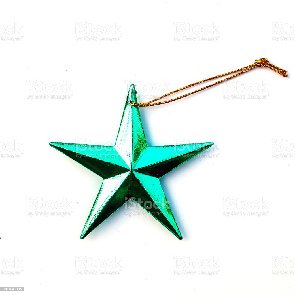 Green Christmas star isolate on white background. stock photo