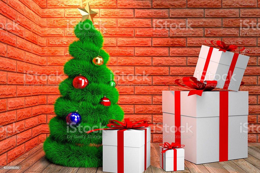 green Christmas tree and giftboxes stock photo