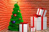 green Christmas tree and giftboxes