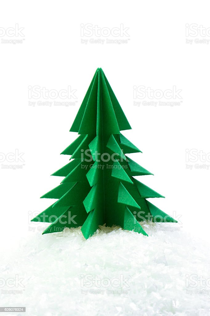Green Christmas Tree Made Of Paper, White Background Royalty Free Stock  Photo