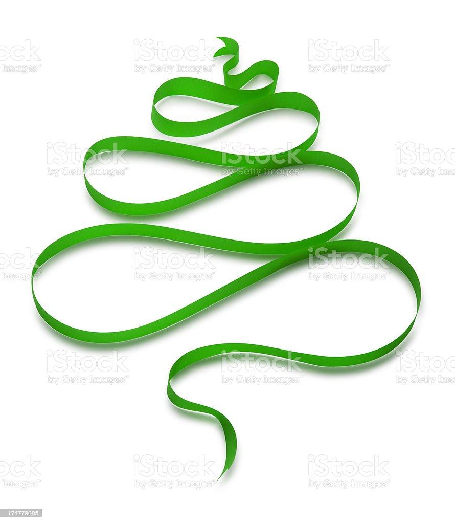 Green Christmas Tree Ribbon royalty-free stock photo