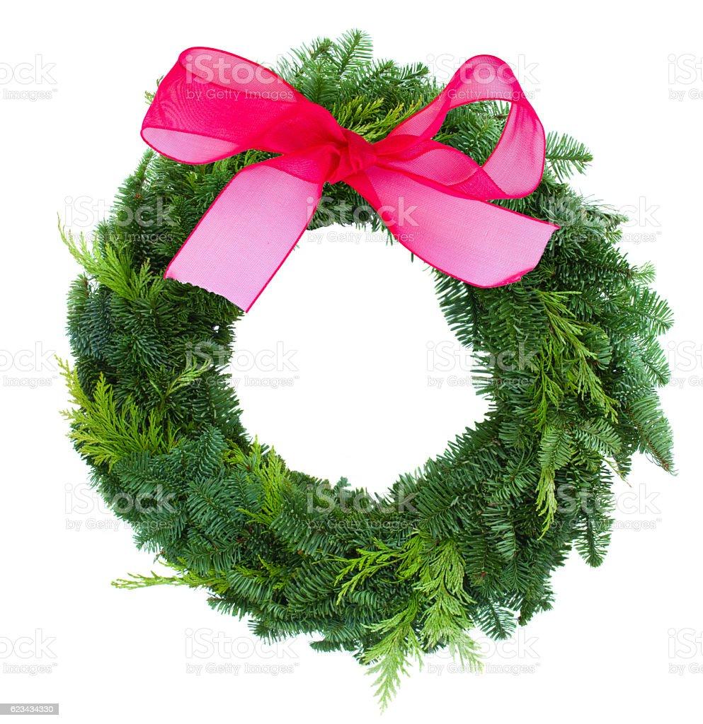 green christmas wreath stock photo