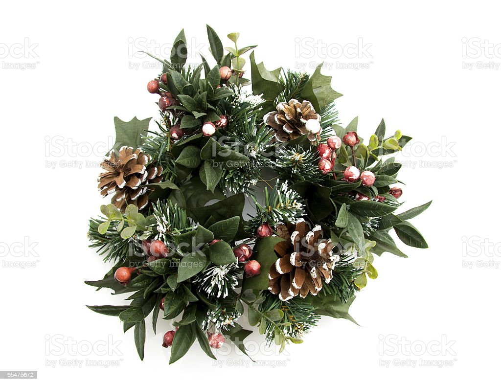 Green christmas wreath stock photo
