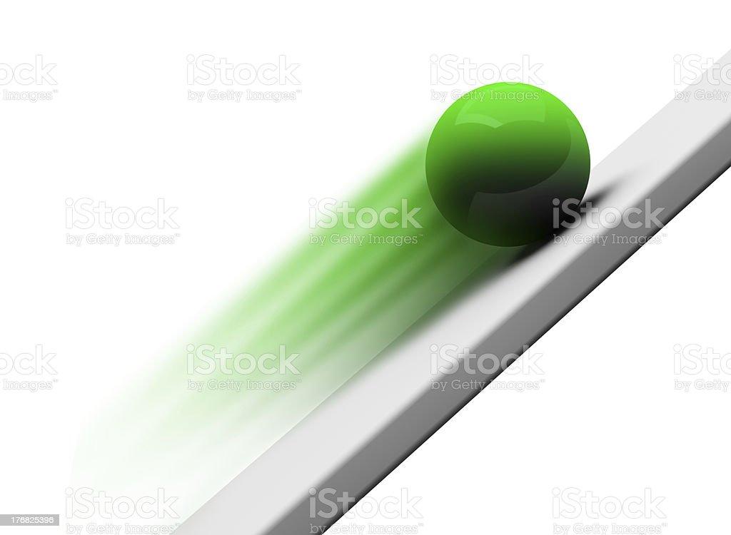 Green chrome ball rolling upwards 3d royalty-free stock photo