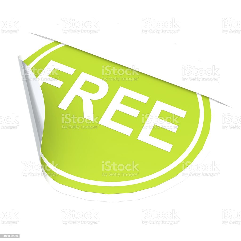 Green circle label free stock photo