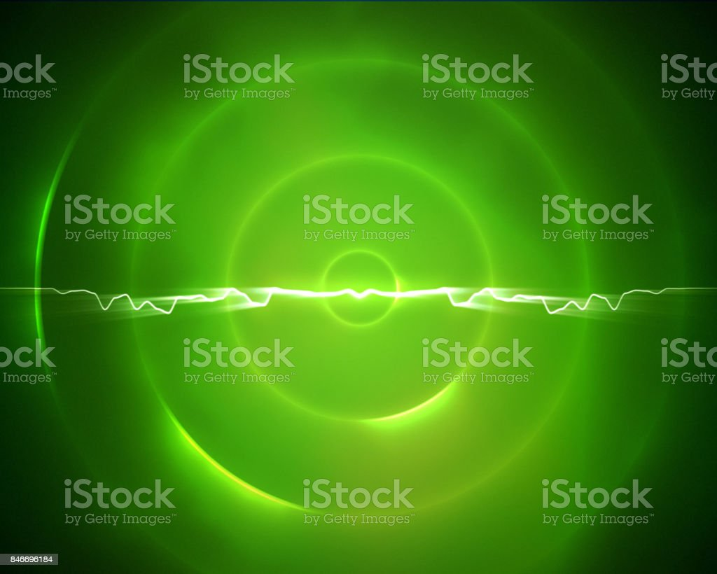 Green circle with a lightning in the middle stock photo