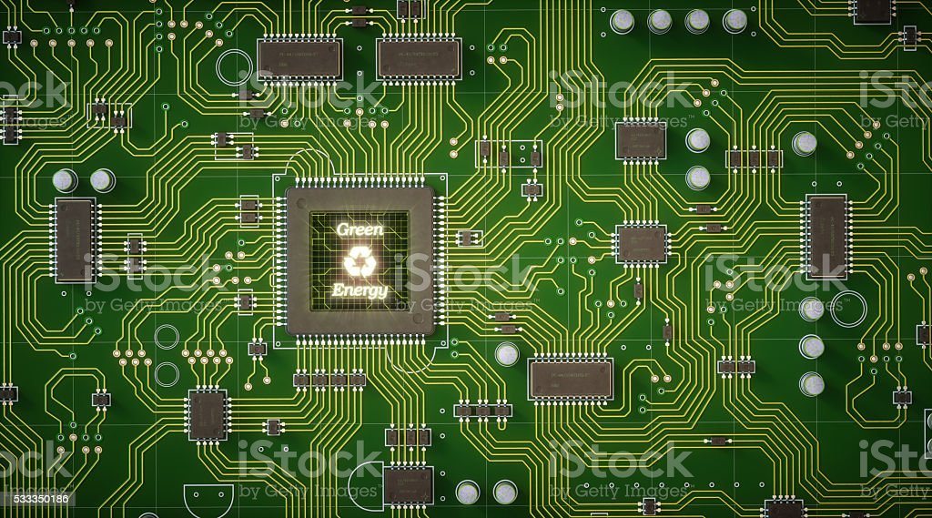 Green Circuit Board With Ecology Message stock photo