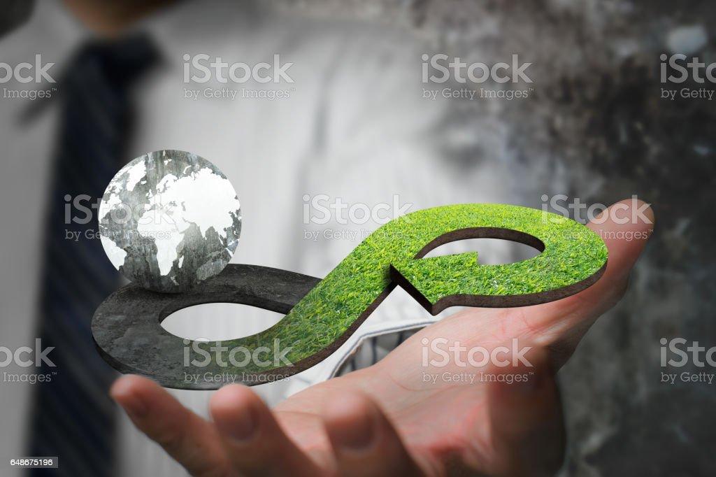 Green circular economy concept stock photo