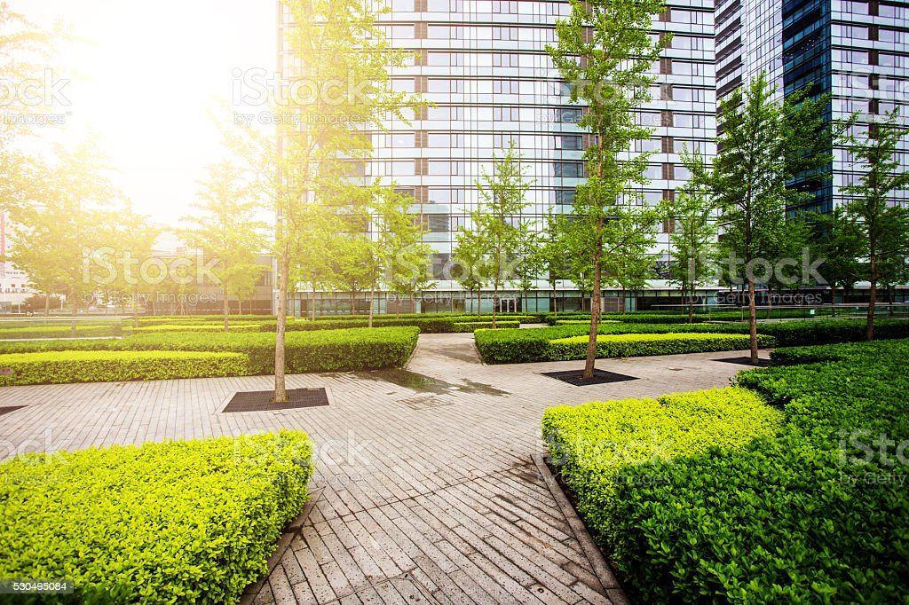 Green city park with office building stock photo