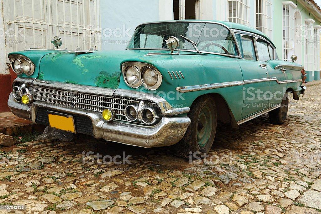 green classic vintage cuban car royalty-free stock photo