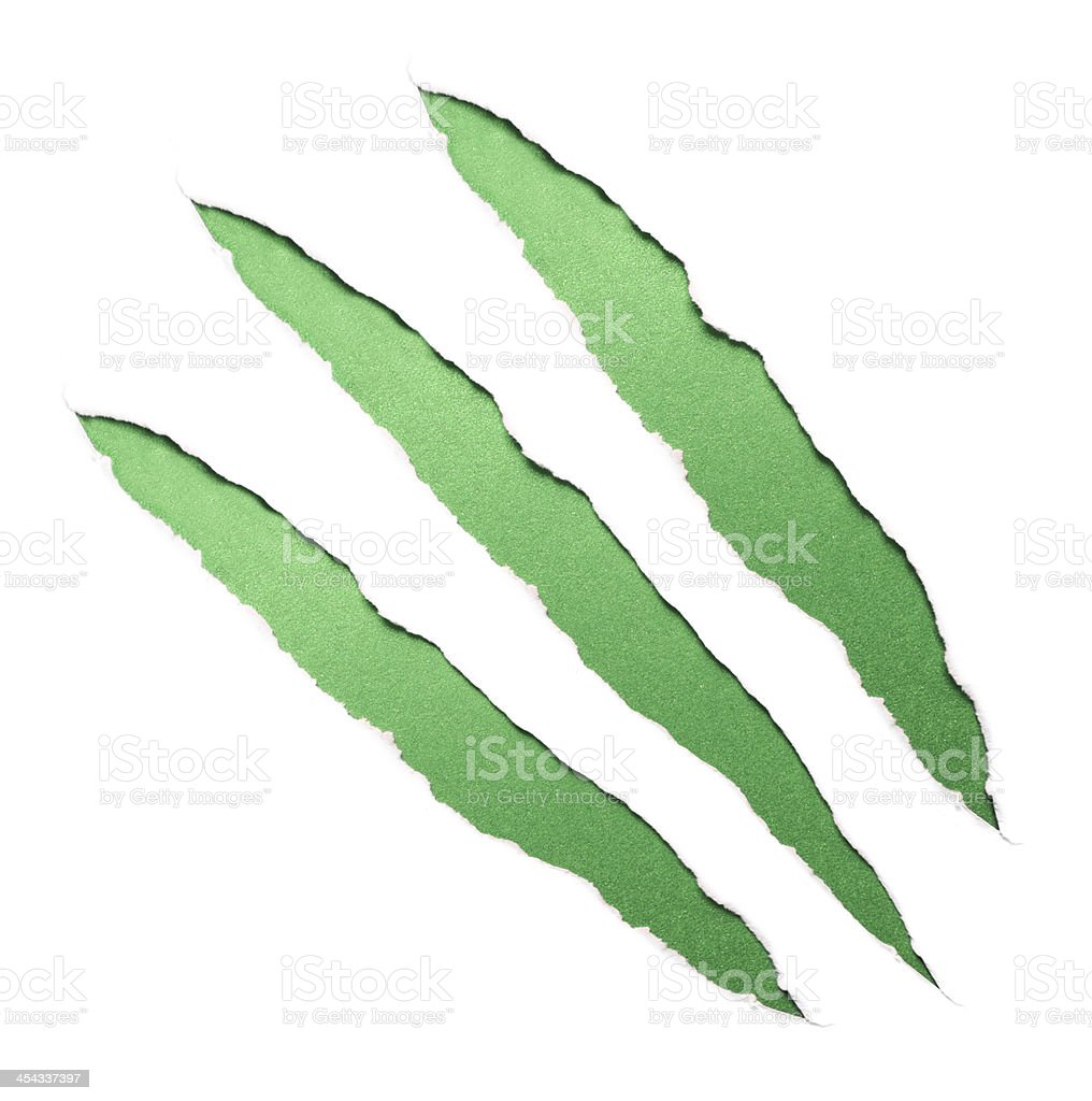 Green claws scratches royalty-free stock photo