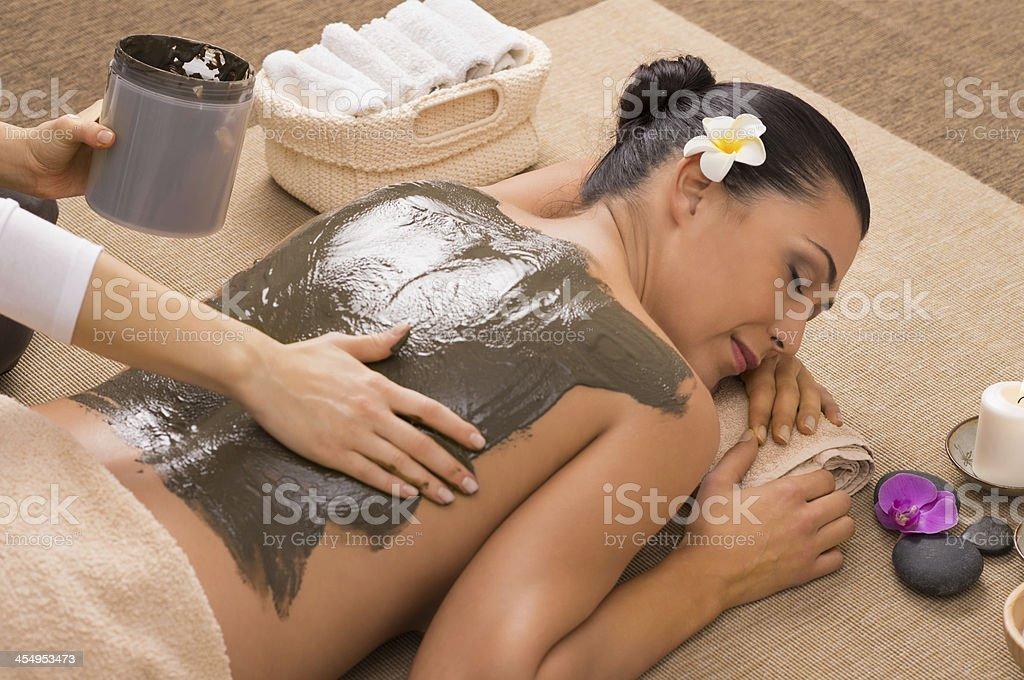 Green Clay Treatment At Spa stock photo