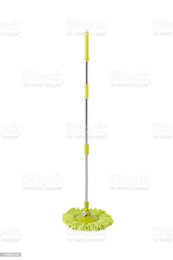 Green cleaning mop stock photo