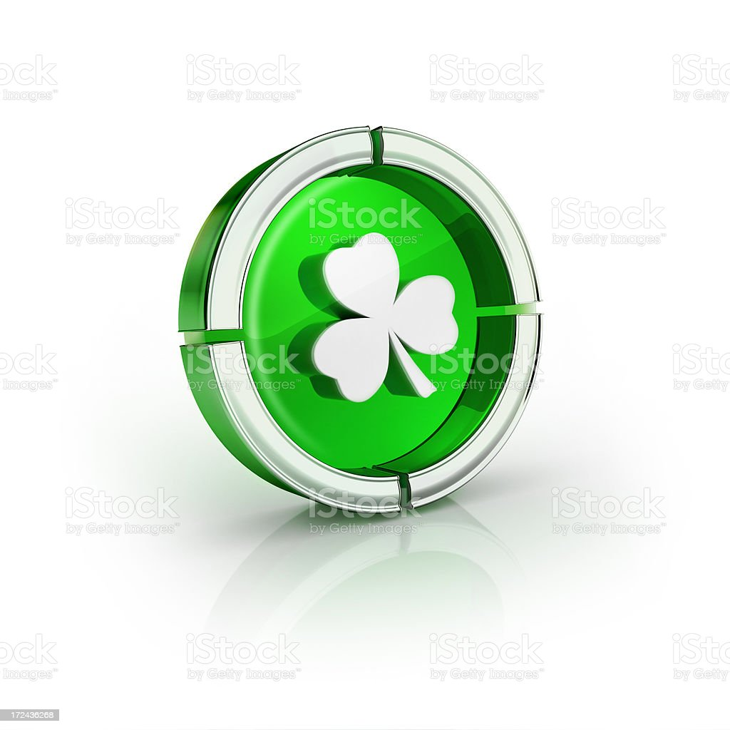 green clover leaf glossy icon stock photo