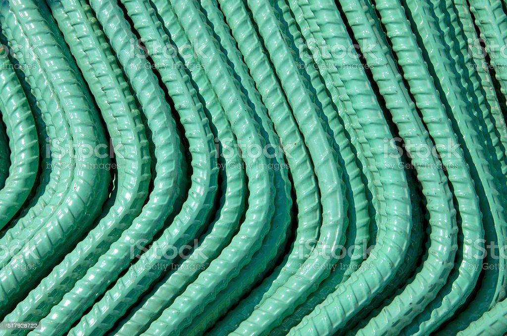 Green Coated Reinforcing Rods stock photo