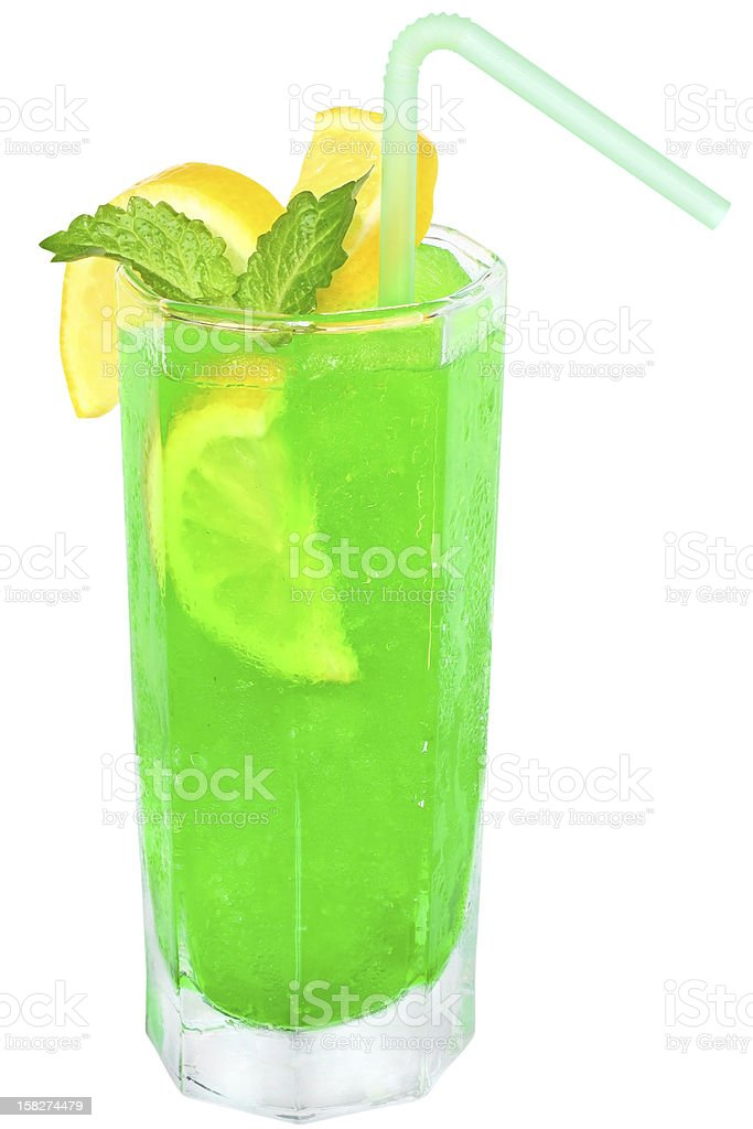 Green cocktail with crushed ice royalty-free stock photo