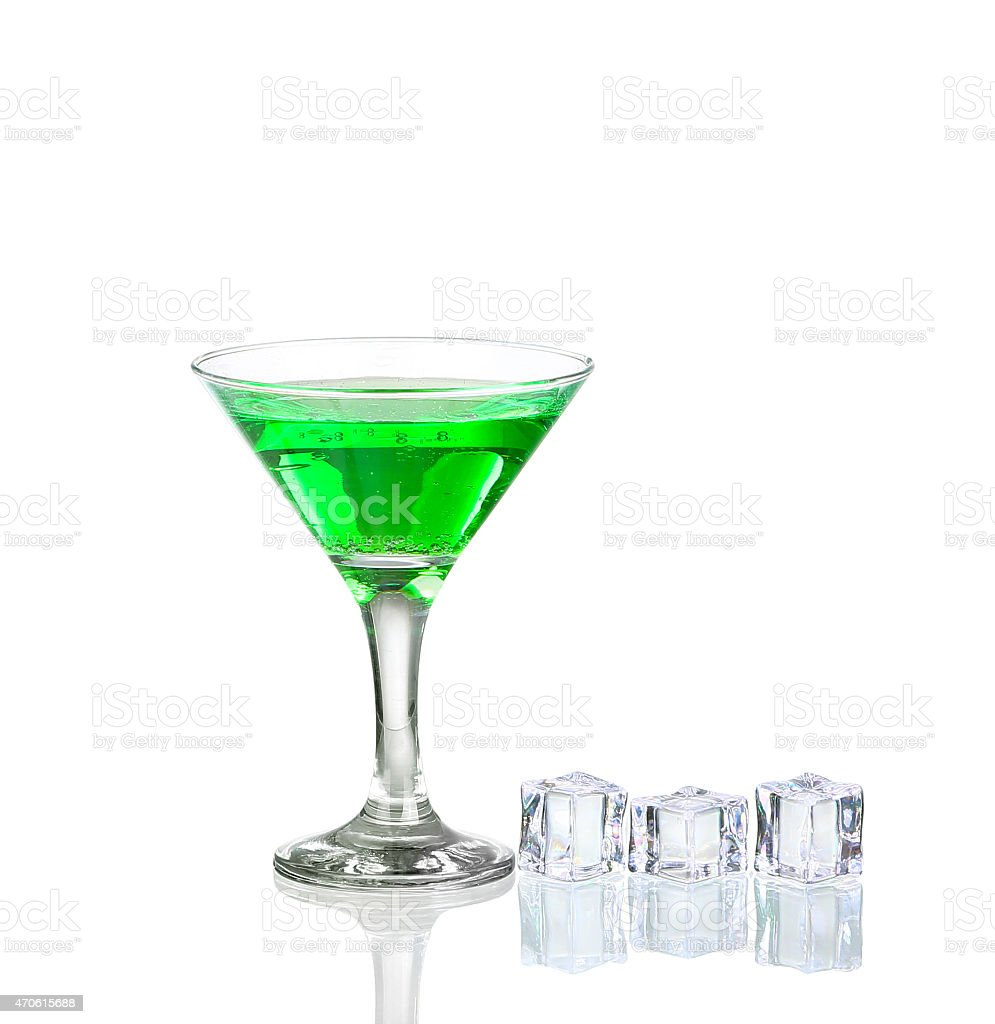 Green cocktail with lime isolated on white stock photo