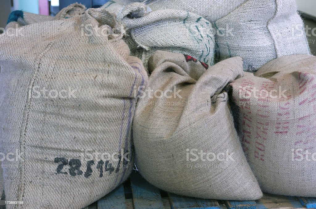 Green Coffee Beans in Burlap Bag royalty-free stock photo