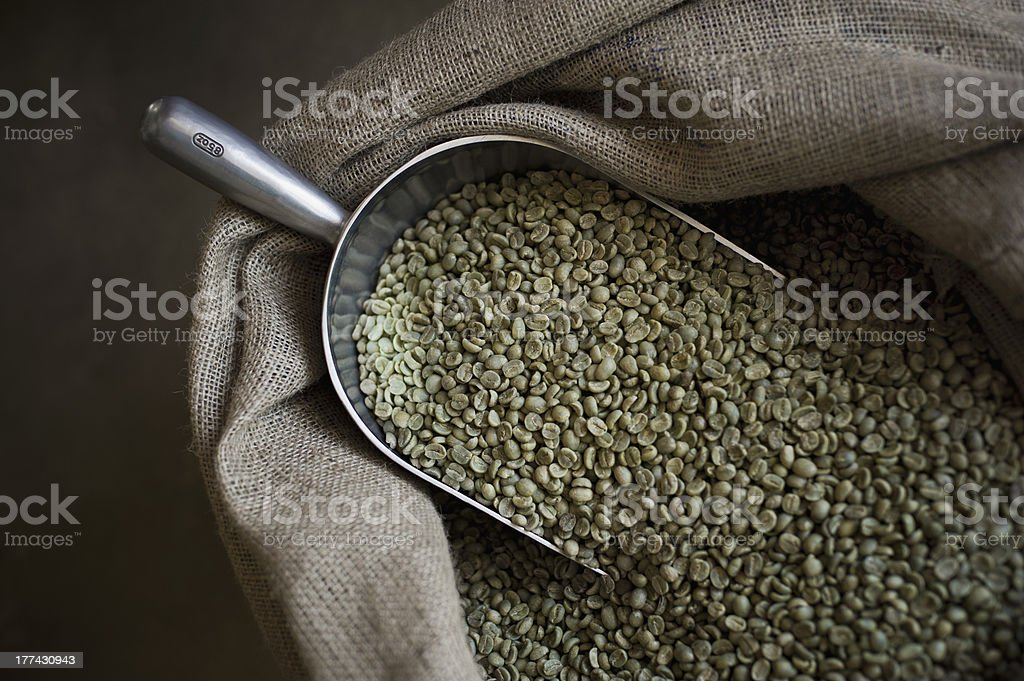 Green Coffee Beans with Large Scoop royalty-free stock photo