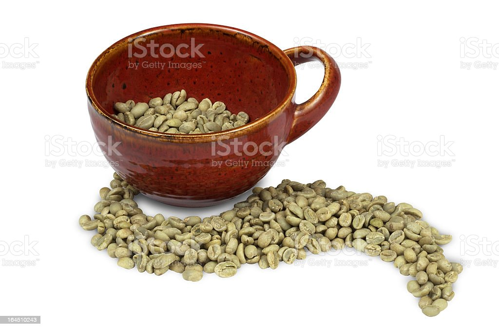 Green Coffee Beans With Red Mug royalty-free stock photo