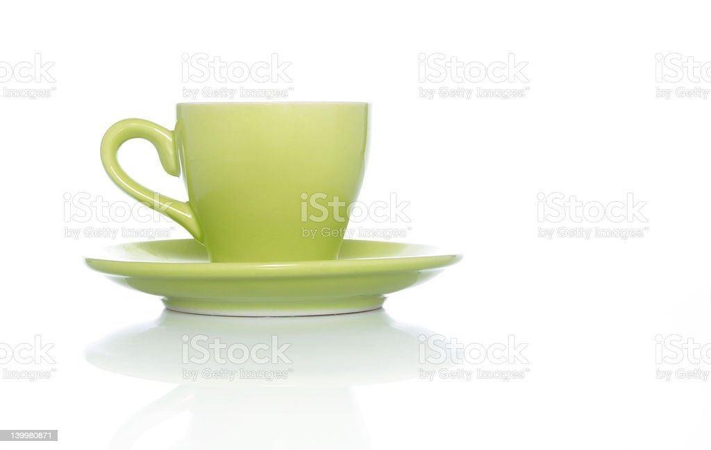 Green Coffee Cup on White background royalty-free stock photo