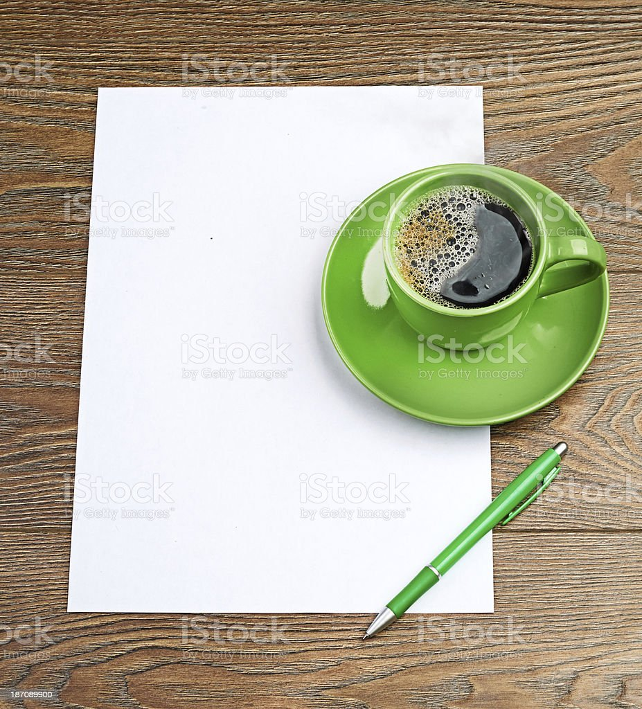 green coffee cup on white blank royalty-free stock photo