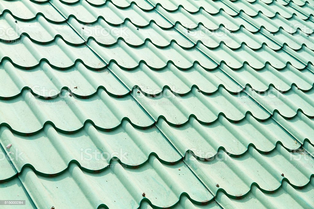 Green color roof tile stock photo