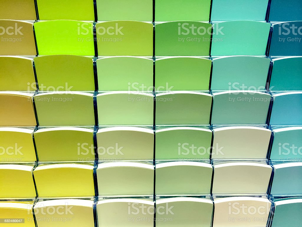 Green color swatches in a store stock photo