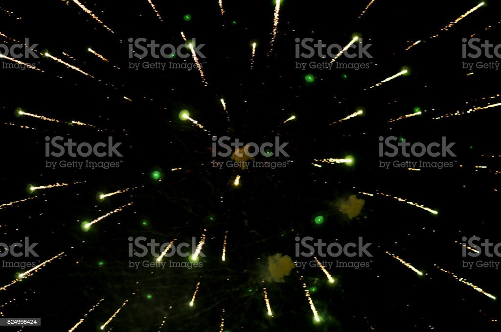green colored fireworks stock photo