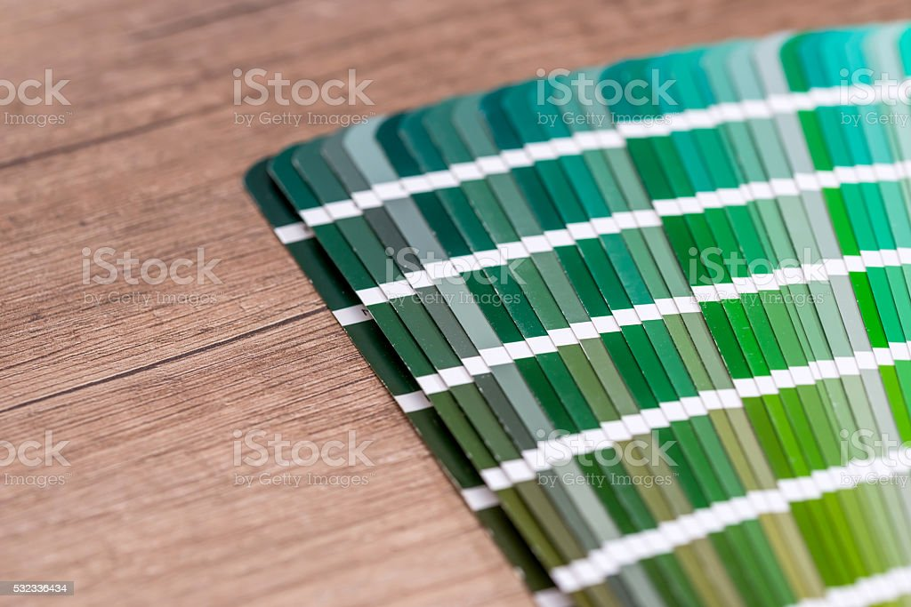 Green colour sample chart close up stock photo
