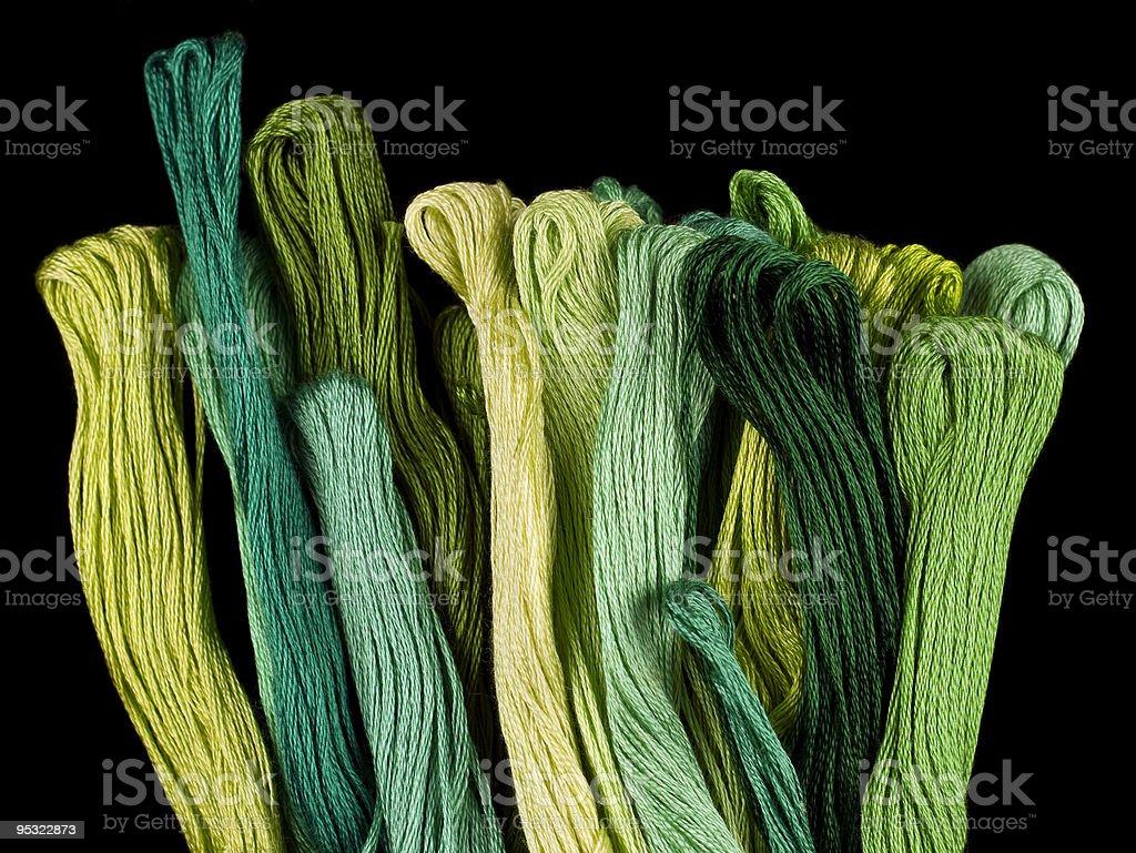 Green coloured yarns stock photo