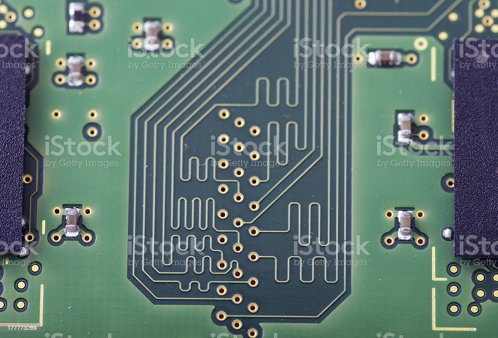 Green computer board with chips and components. royalty-free stock photo