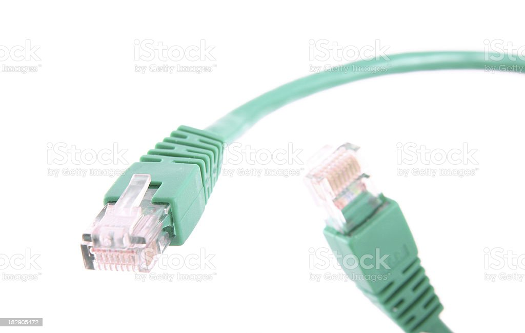 Green computer cable royalty-free stock photo