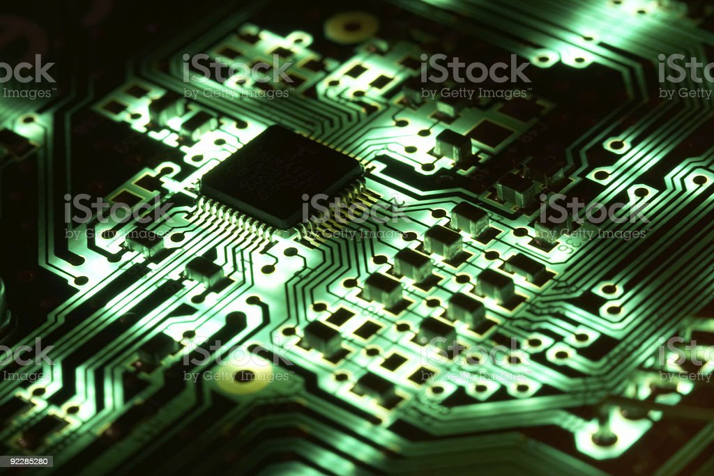 Green Computer Chip Technology - Electronics : High Tech royalty-free stock photo