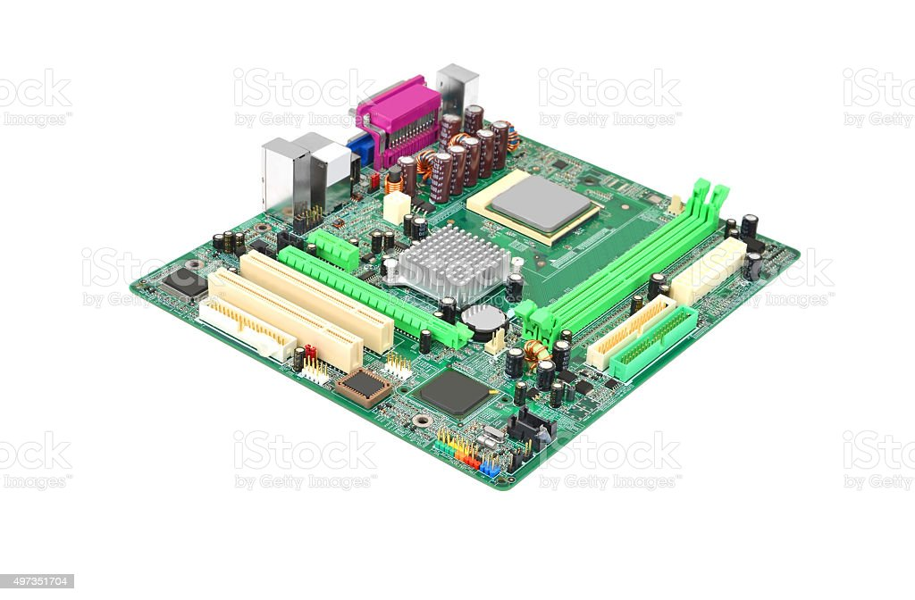 Green computer motherboard stock photo