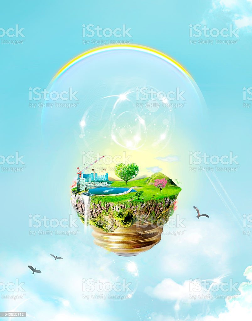 Green concept : energy, eco bulb with blue sky stock photo