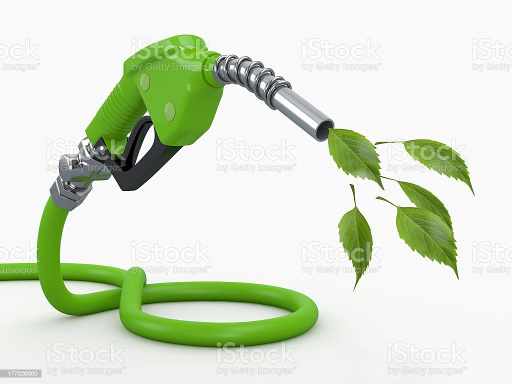 Green conservation gas pump nozzle stock photo